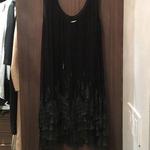 DVF black silk tank dress